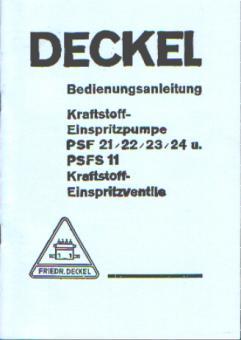 Bedienungsanleitung PSF 21/22/23/24 und PSFS 11 Einspritzpumpe -ventile