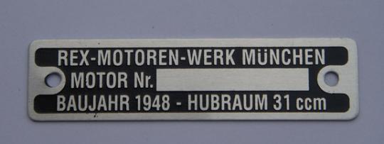 Typenschild 31ccm / Baujahr 1948
